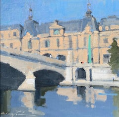 Right Bank Allure by Sherrie Russ Levine, Parisian Painting, Blue, Green