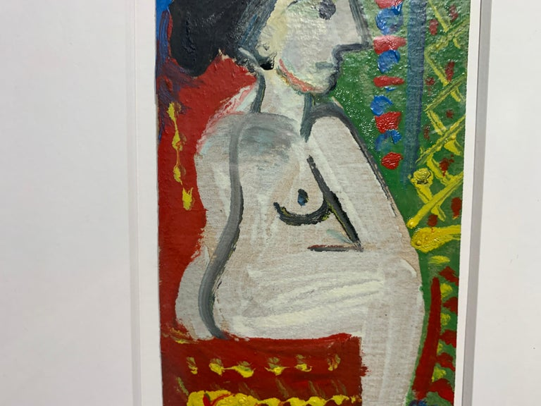 Femme Nue Assise Raymond Debieve, French Cubist Portrait on Paper For Sale 1
