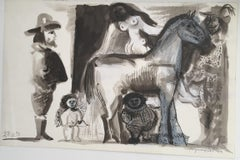 Black and White Horse Raymond Debiève 1970 Original Mixed Media on Paper Drawing