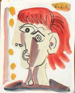 Figure XV by Raymond Debieve, Petite Mid-Century French Cubist Portrait