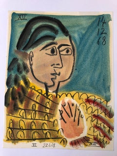 Figure IV by Raymond Debieve, Petite Mid-Century French Cubist Portrait