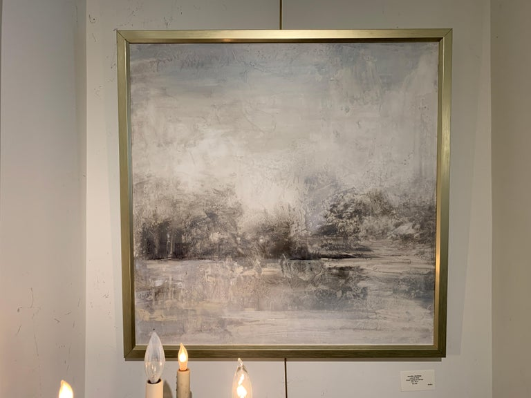 Land in Gray by J Austin Jennings 2019 Large Square Framed Abstract For Sale 2