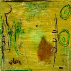 Utopia by Zae Small Square Abstract Mixed Media on Board Painting