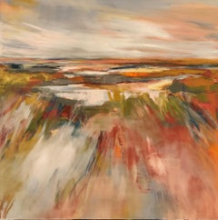 Wetland Splendor by Kelli Kaufman Large Framed Oil and Wax Landscape Painting
