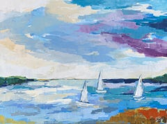 Smooth Sails by Sarah Caton Wynne, Large Horizontal Beach Painting