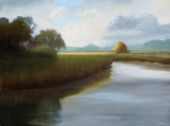 His Morning Light by Laura Lloyd Fontaine, Green and Blue Landscape Painting