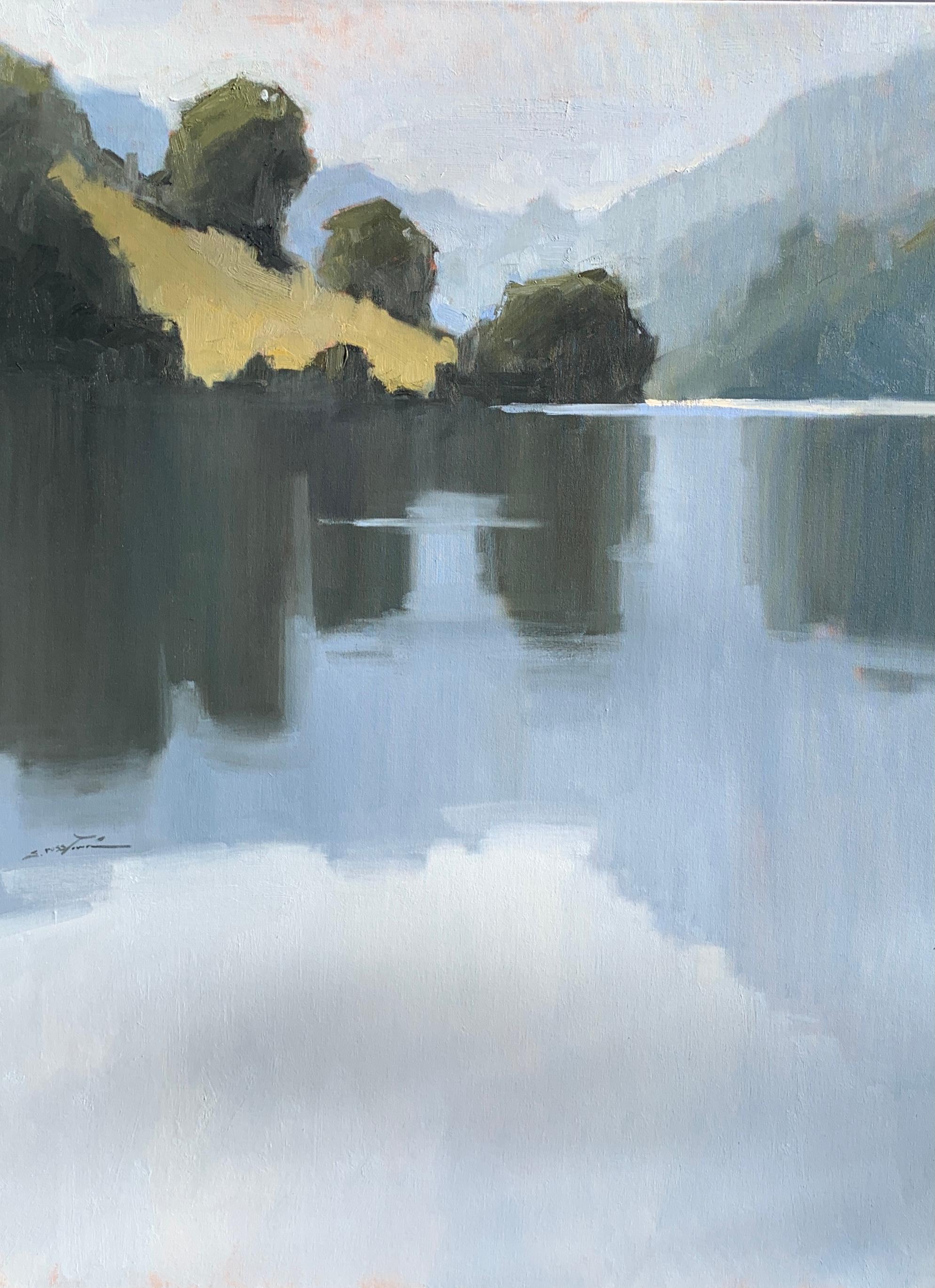 Hidden Treasure by Sherrie Russ Levine, Large Vertical Landscape Painting, Blue