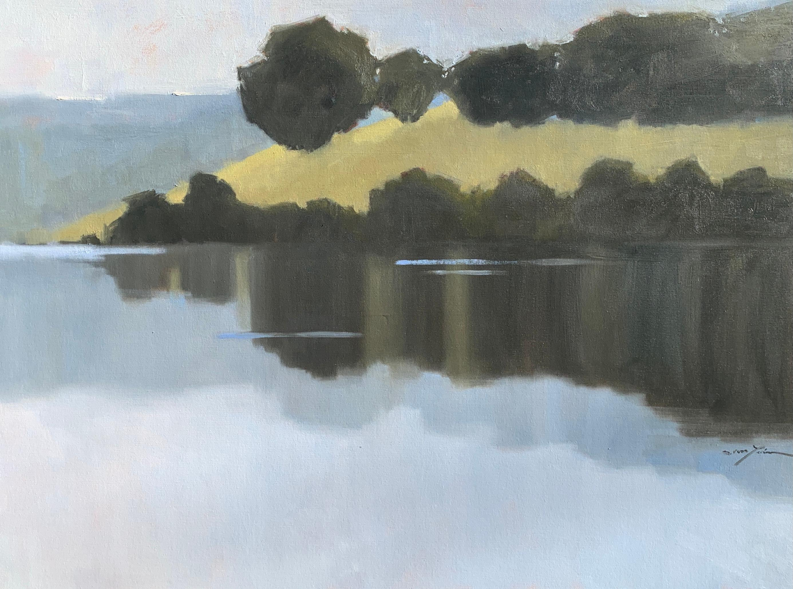 Quiet Reflections by Sherrie Russ Levine, Horizontal Landscape Painting, Blue