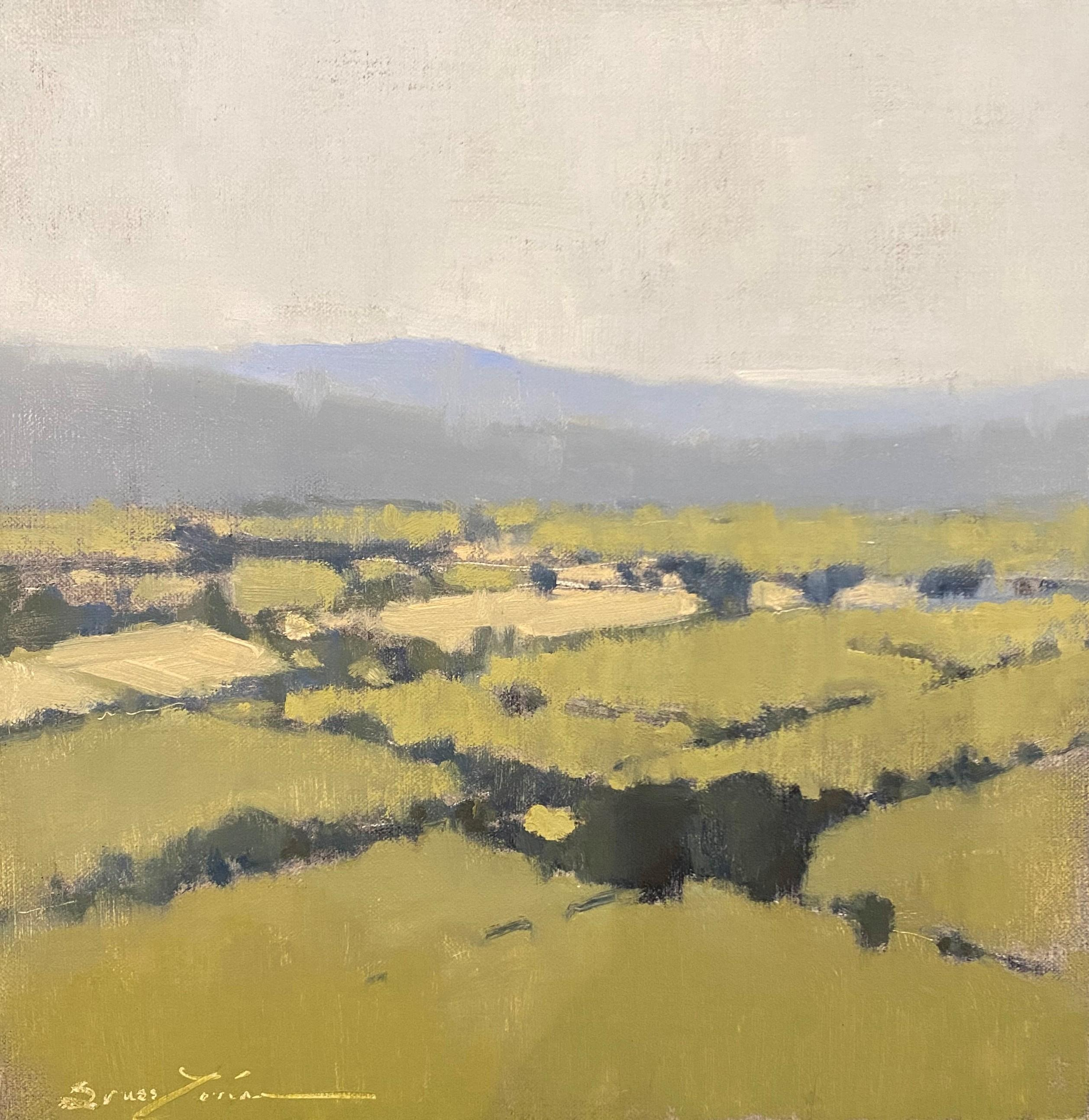 Sweeping Luberon Views by Sherrie Russ Levine, Landscape Painting, Blue, Green