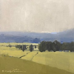 Silver Haze by Sherrie Russ Levine, Landscape Painting, Blue, Green