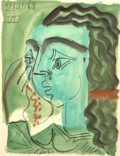 En Vert by Raymond Debieve, French Cubist Portrait on Paper