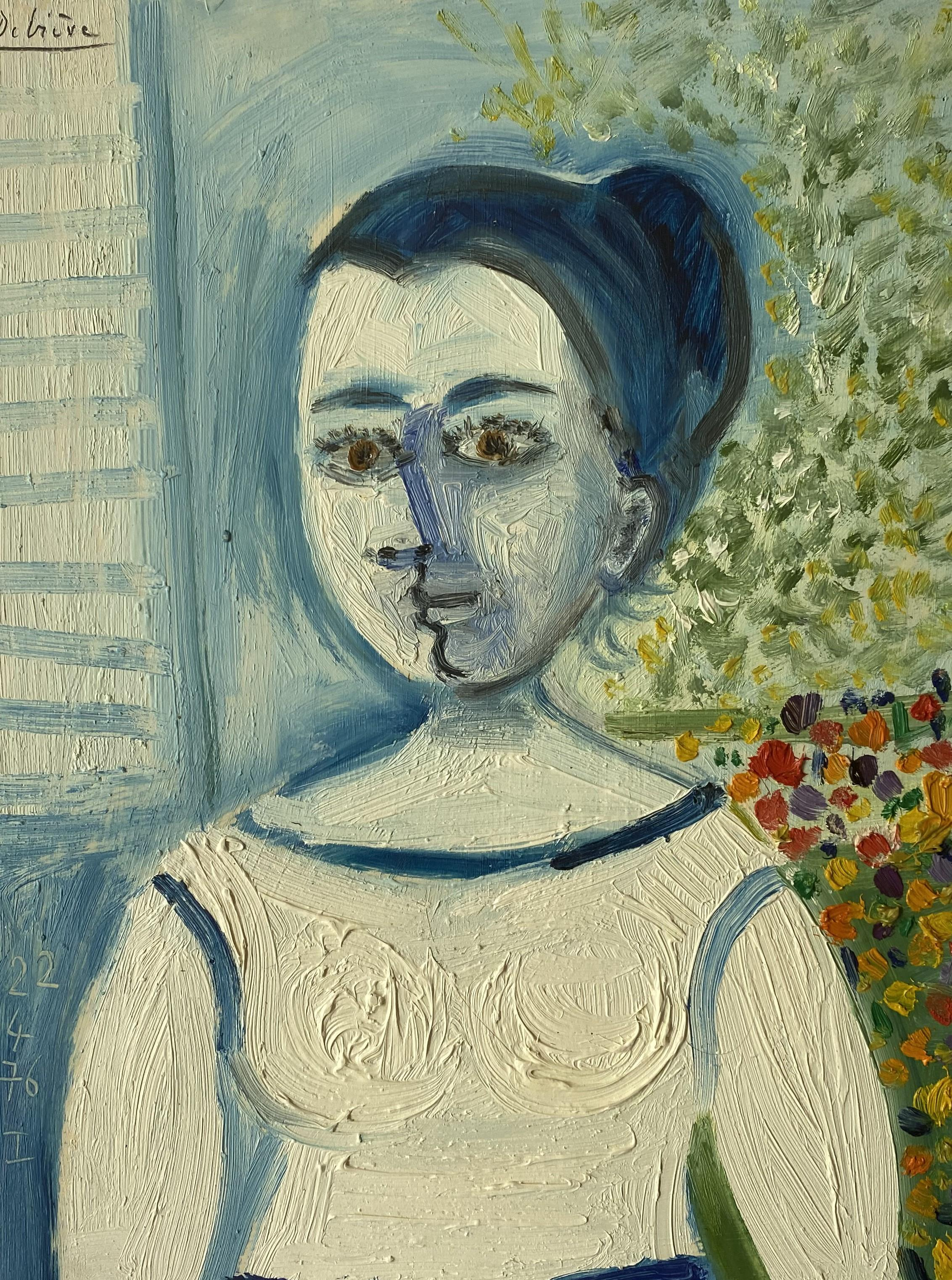 Babette by Raymond Debieve, French Cubist Portrait on Paper
