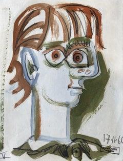 Chantal by Raymond Debieve, French Cubist Portrait on Paper