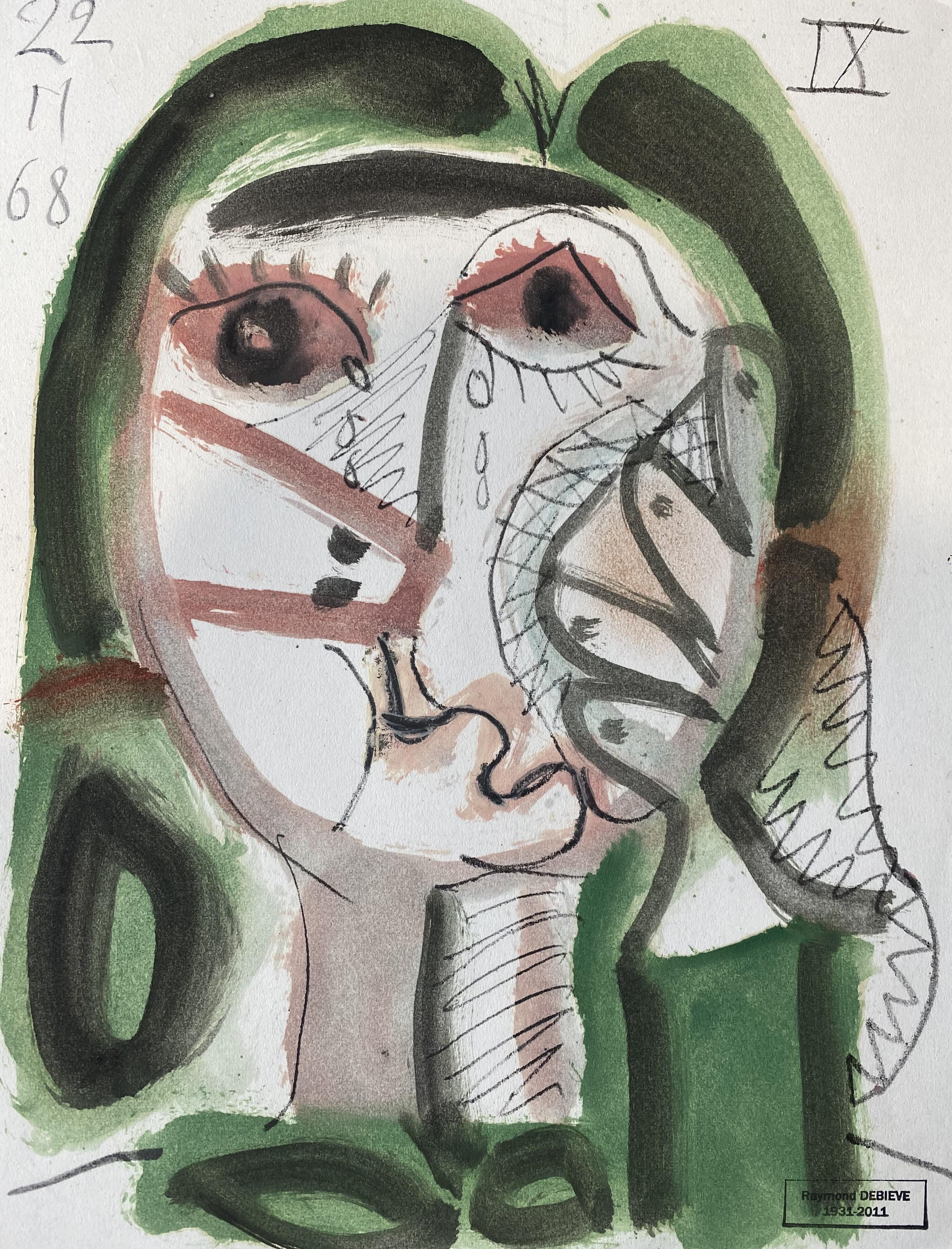 Jeannette Raymond Debieve, French Cubist Portrait on Paper