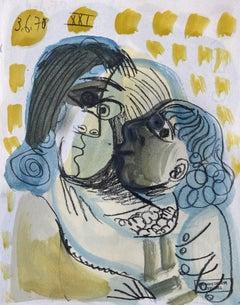 Mama et sa Fille Raymond Debieve, French Cubist Portrait on Paper