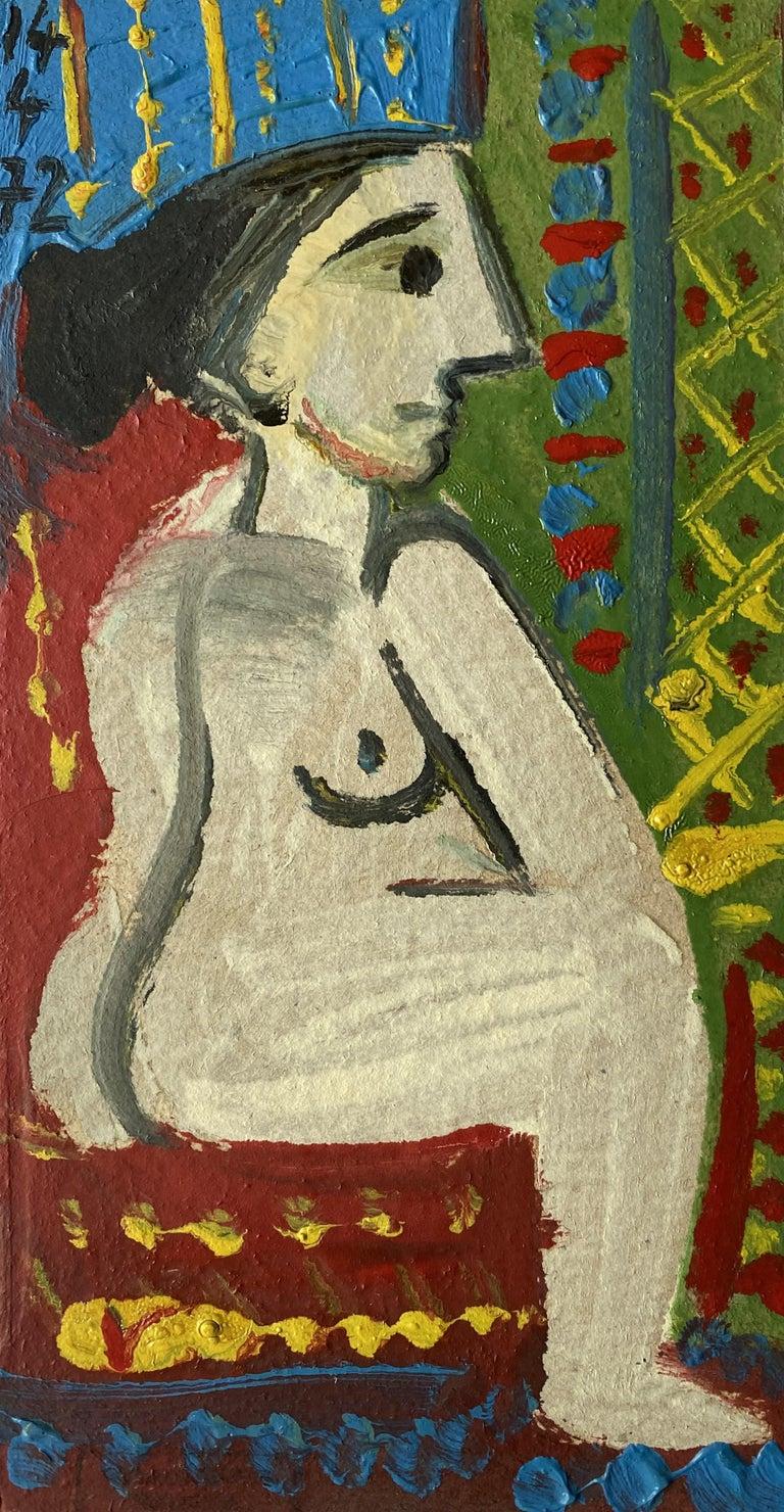 Femme Nue Assise Raymond Debieve, French Cubist Portrait on Paper - Painting by Raymond Debieve