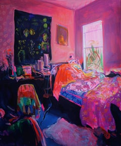 """Awakening"", Expressive and textured large oil painting, bold colors, Bedroom"