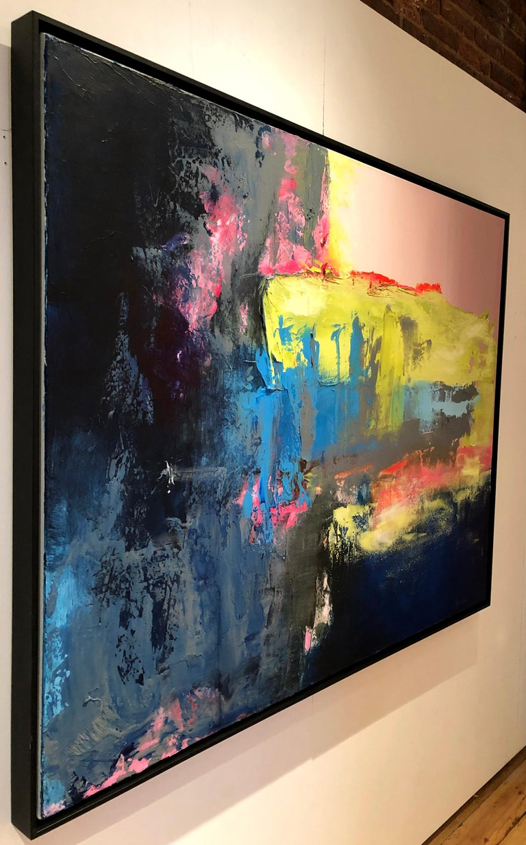 Chasing The Rain - contemporary bright bold abstract painting on canvas framed  - Abstract Painting by Ginger Fox