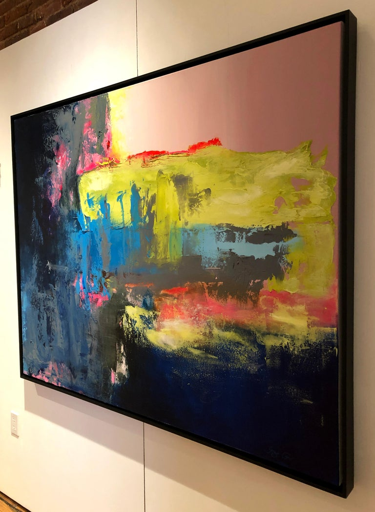 Chasing The Rain - contemporary bright bold abstract painting on canvas framed  For Sale 1