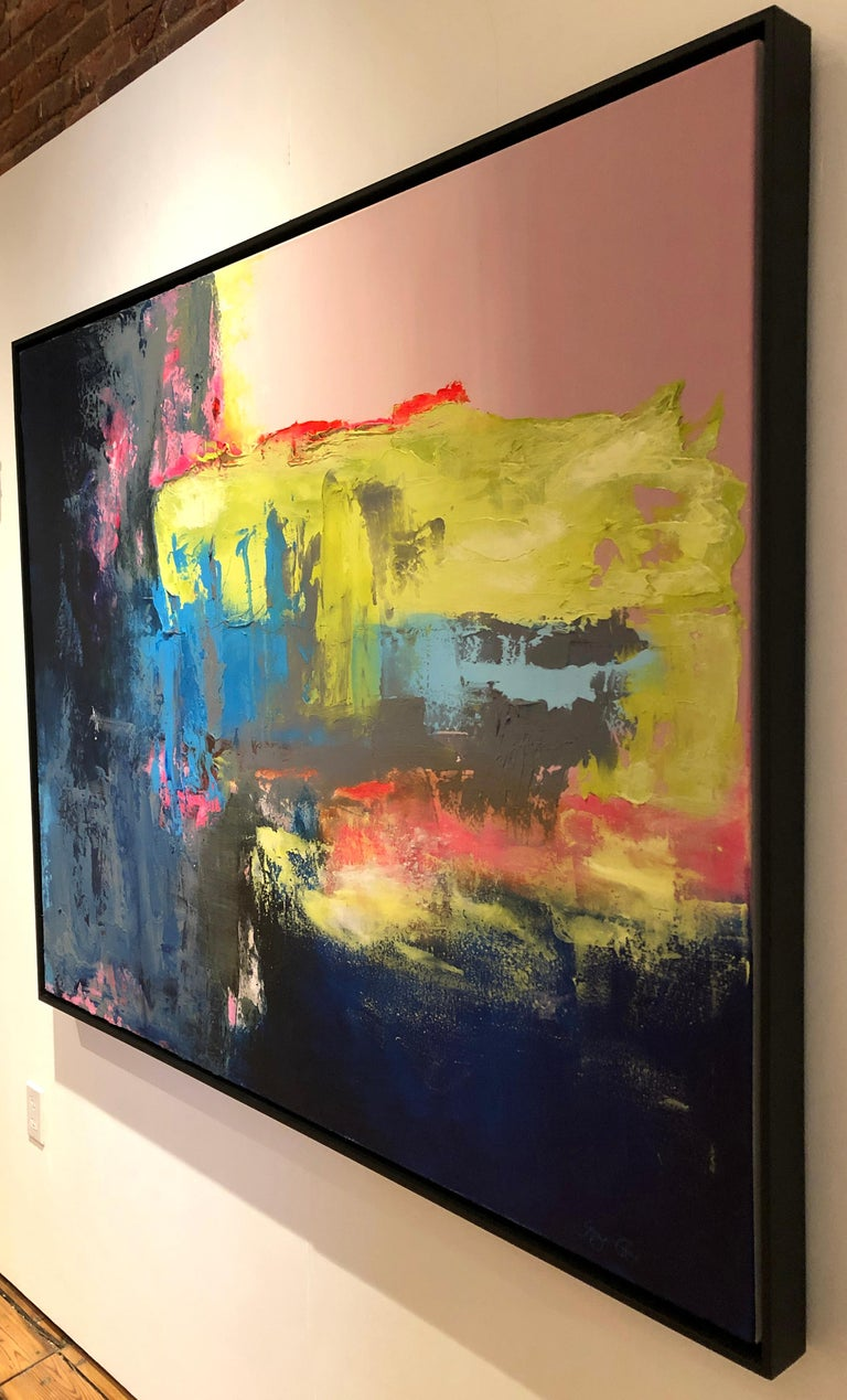 This is a gorgeous abstract contemporary painting. Its soft and bright color pallet make it a perfect piece for a clean and elegant environment.   GINGER FOX b. 1960, USA  BIOGRAPHY  Artist Ginger Fox was born and raised in the Panhandle region of