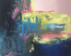 Chasing The Rain - contemporary bright bold abstract painting on canvas framed
