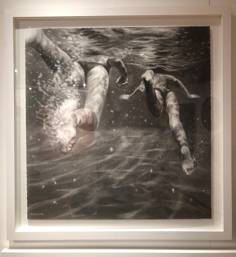The Race, Dynamic underwater figures, Charcoal and graphite on Fabriano paper For Sale 2
