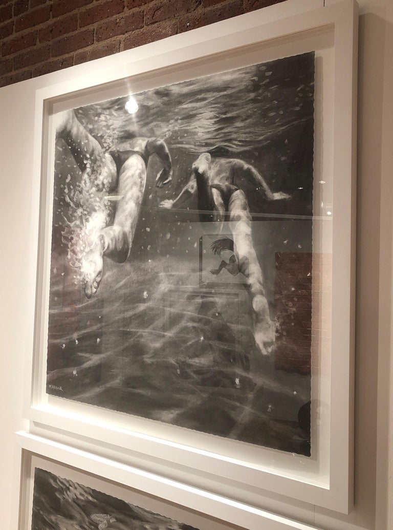 The Race, Dynamic underwater figures, Charcoal and graphite on Fabriano paper For Sale 5