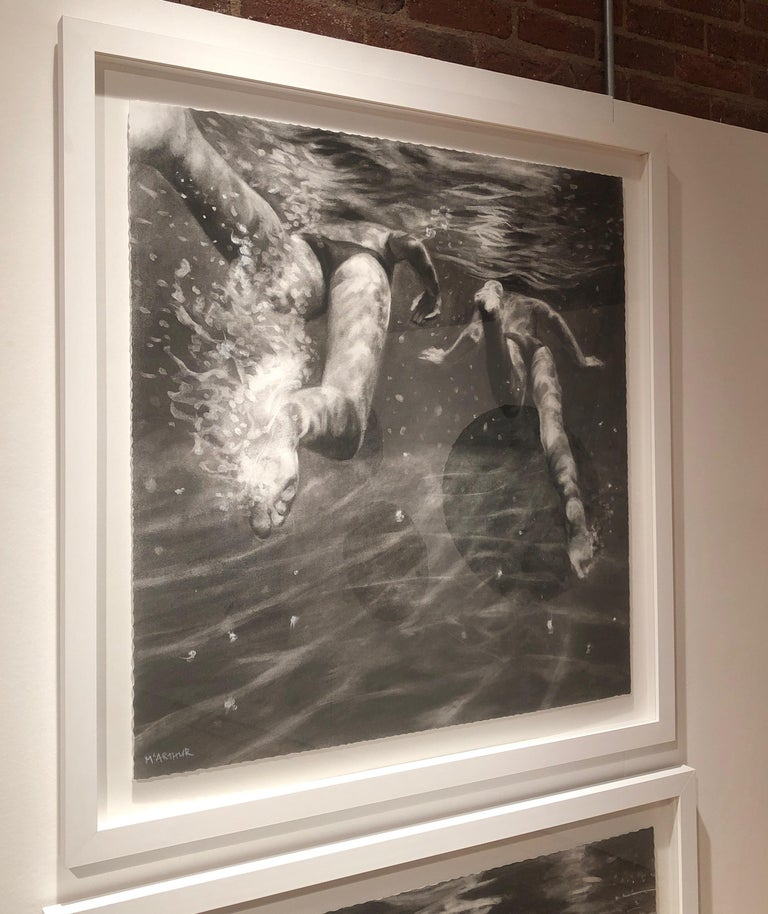 The Race, Dynamic underwater figures, Charcoal and graphite on Fabriano paper For Sale 3