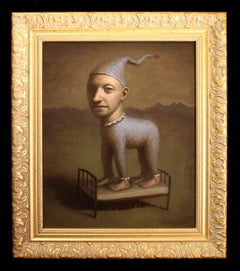 Creature of Dreams, Avery Palmer, Oil on board, pop surreal figure, gold frame