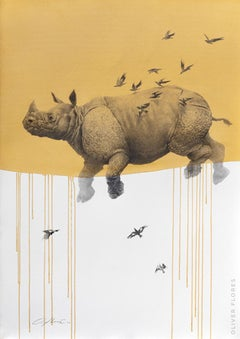 Jouney No. 6 Yellow Rhino, watercolor & charcoal of flying rhinoceros and birds