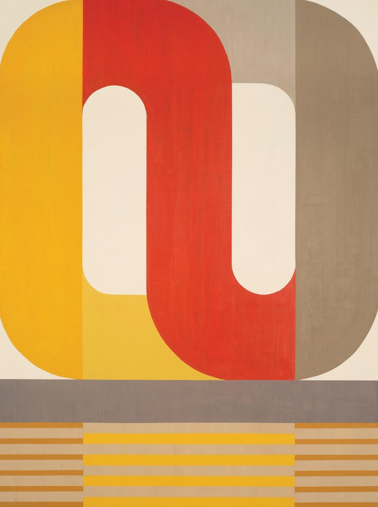 Kazaan Viveiros Abstract Painting - Eternal Return, striking modern geometric abstract, red and yellow palette