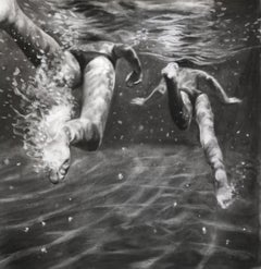 The Race, Dynamic underwater swimmers, Charcoal and graphite on Fabriano paper