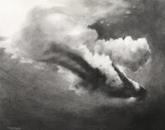 Brave New World, Study II, Patsy McArthur, charcoal drawing of underwater diver
