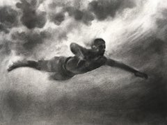 Brave New World, Study I, Patsy McArthur, charcoal drawing of underwater diver