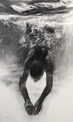 Transition by Patsy McArthur, dynamic charcoal drawing of underwater diver