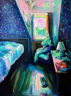 Summer Breeze, Bright & textured blue oil on canvas, interior bedroom painting