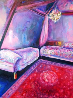 Chateau I, Expressive & bright oil on canvas, interior boudoir French influence