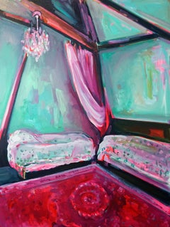 Chateau II, Expressive & bright oil on canvas, interior boudoir French influence