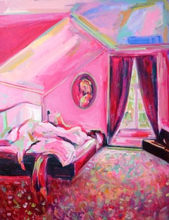 Mademoiselle, Expressive and bright pink oil on canvas, interior boudoir bedroom