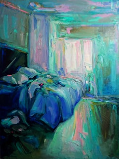 """The Letter"", Expressive and textured interior bedroom painting, Oil on canvas"