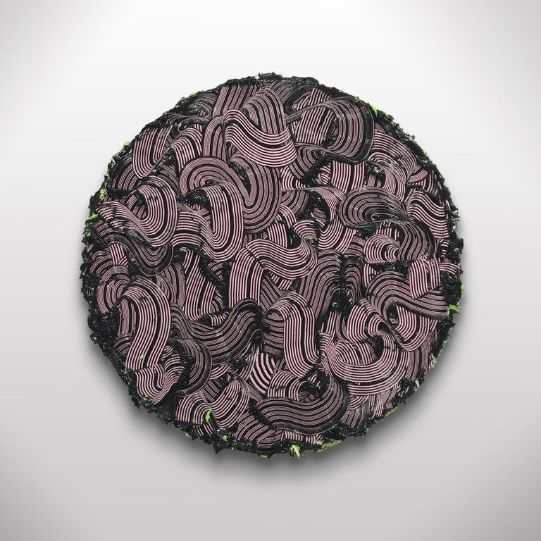 The Medusa II - textured contemporary painting, colorful strokes, round format 2