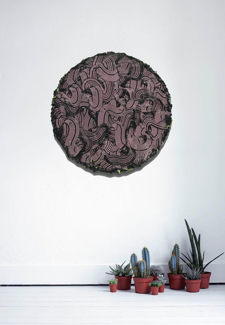 The Medusa II - textured contemporary painting, colorful strokes, round format 3