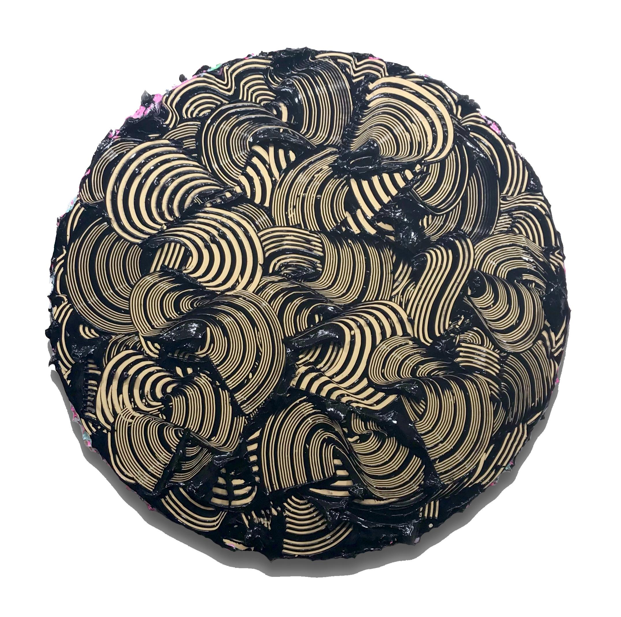Sabine - textured contemporary painting, colorful, gold strokes, round format