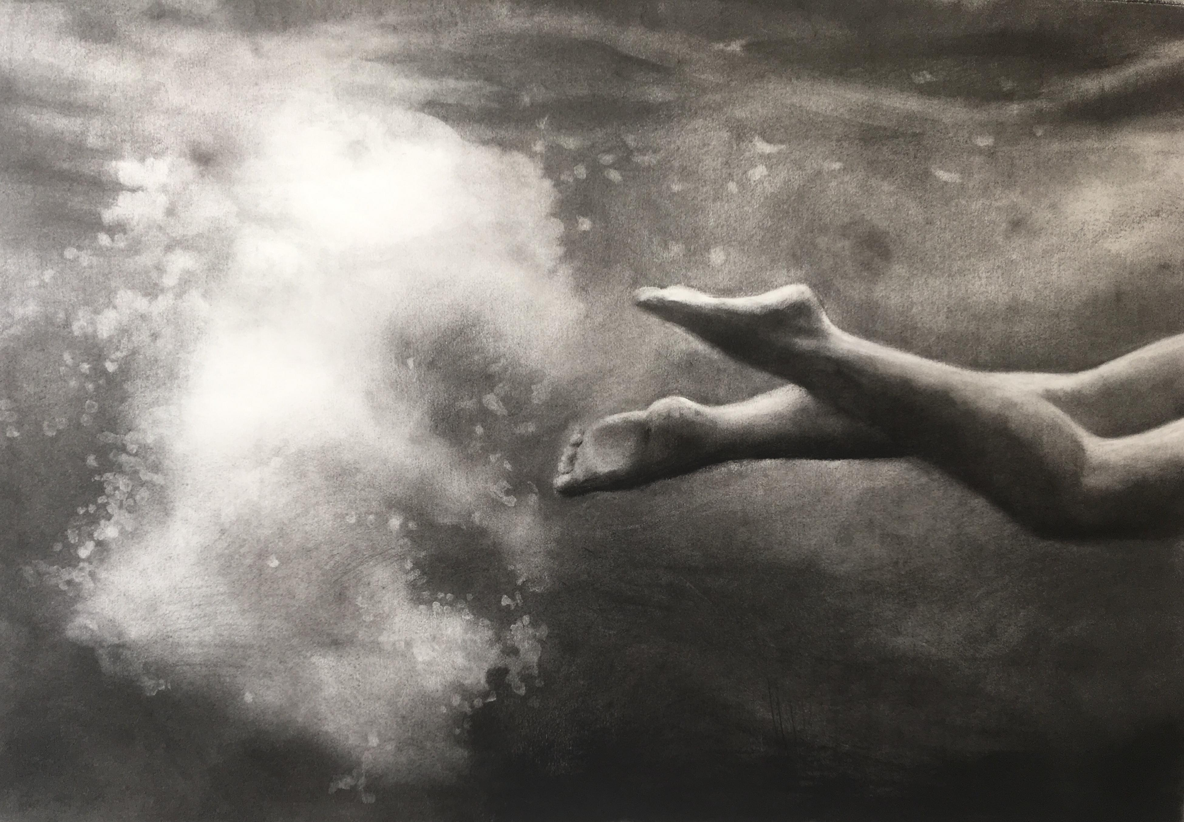 Trailblazer by Patsy McArthur, charcoal drawing, underwater diver and bubbles