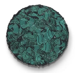 Kymopoleia - textured contemporary painting, colorful green & black round format