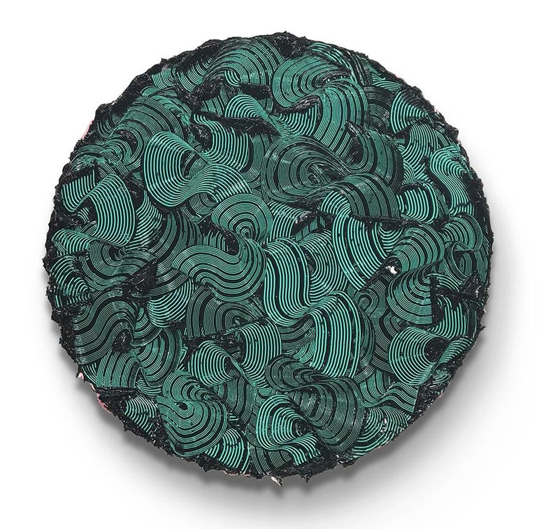 Tim Nikiforuk Abstract Painting - Kymopoleia - textured contemporary painting, colorful green & black round format