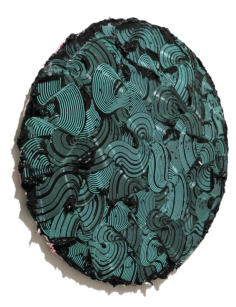 Kymopoleia - textured contemporary painting, colorful green & black round format For Sale 1