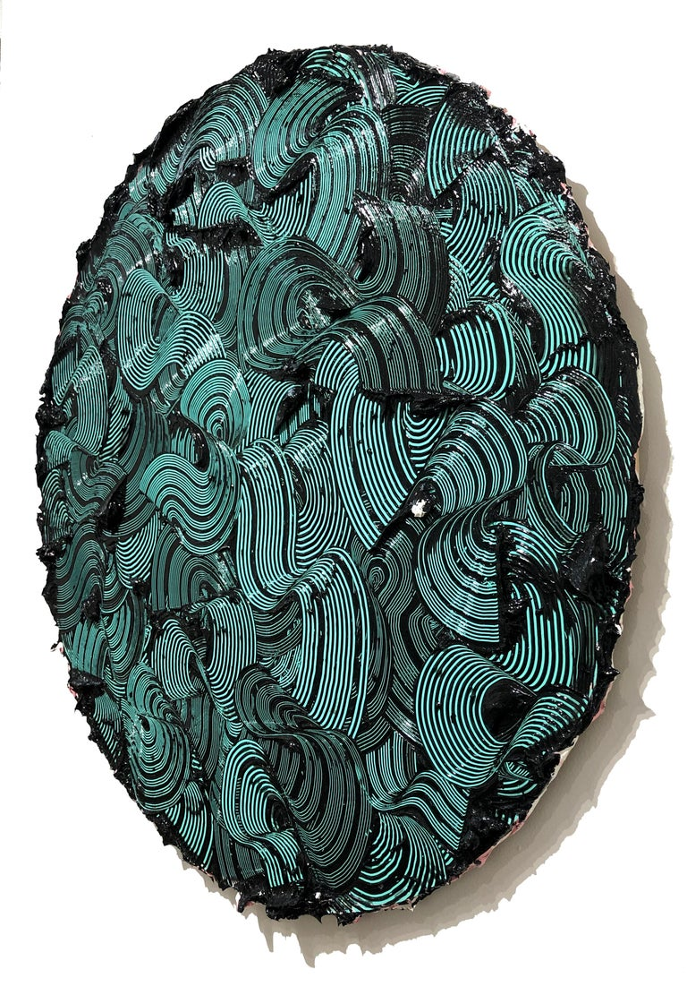 Kymopoleia - textured contemporary painting, colorful green & black round format For Sale 2