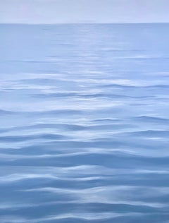 Great Blue - contemporary soothing  water-scape painting on canvas framed