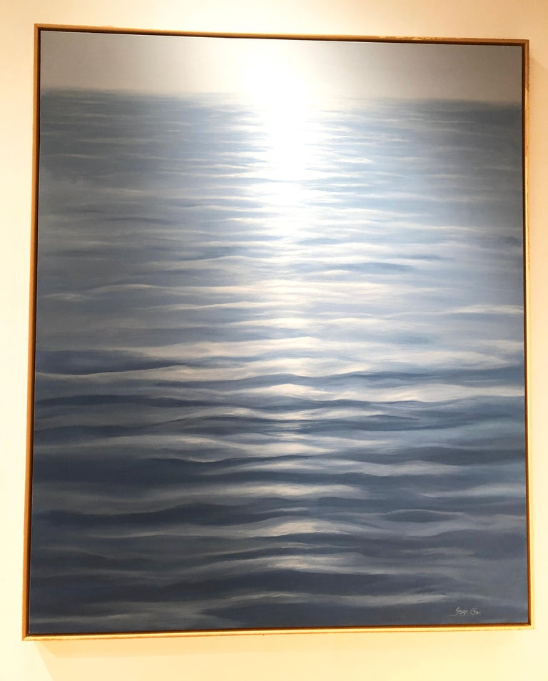 Great Blue - contemporary soothing  water-scape painting on canvas framed  - Painting by Ginger Fox